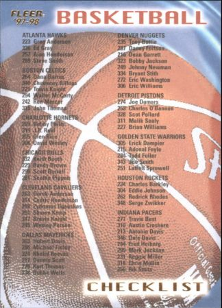 Checklist 1997 98 Fleer #349 Hawks/Kings Basketball Card