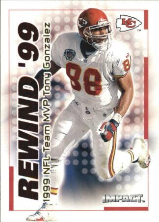 TONY GONZALEZ 2000 Fleer IMPACT REWIND 99 #15 Football Card