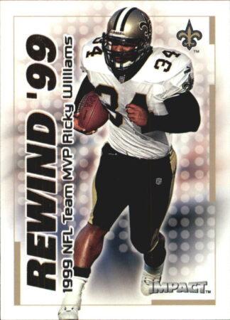 Ricky Williams 2000 Fleer IMPACT REWIND 99 #19 Football Card