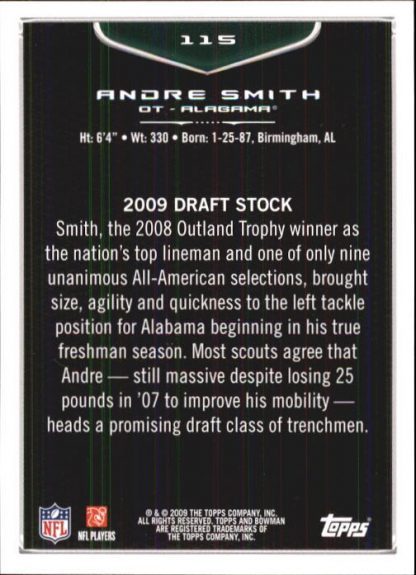 Andre Smith 2009 Bowman Draft #115 Rookie Football Card