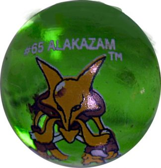 Alakazam #65 Green Colored GLASS Vintage Pokemon MARBLE