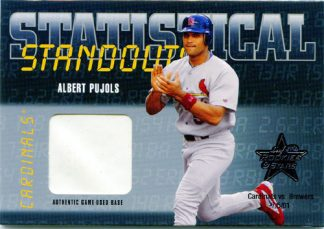Albert Pujols 2002 Leaf Rookies and Stars Statistical Standouts Piece of Base #SS-20 Baseball Card