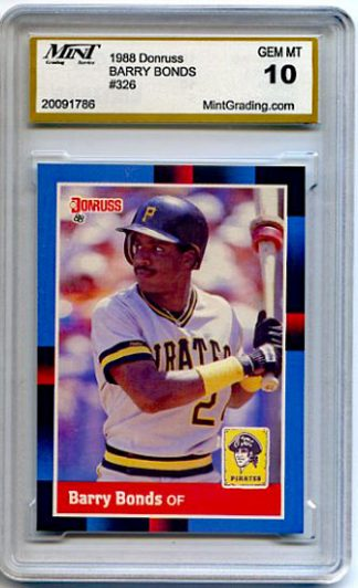 Barry Bonds 1988 Donruss #326 Graded GEM MT Baseball Card