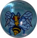 Beedrill #15 Blue Colored GLASS Vintage Pokemon MARBLE