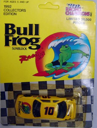 Bull Frog Sunblock Racing Champions 1992 #10 Promo 1:64 Diecast Unpunched