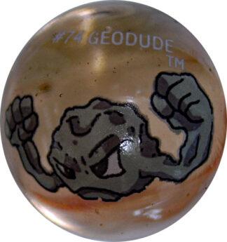 Geodude #74 Lt. Colored GLASS Vintage Pokemon MARBLE