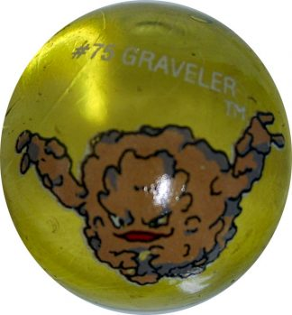 Graveler #75 Yellow Colored GLASS Vintage Pokemon MARBLE