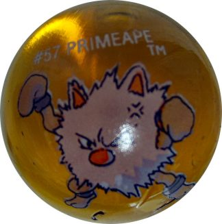 Primeape #57 Dk. Orange Colored GLASS Vintage Pokemon MARBLE