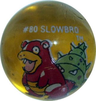 Slowbro #80 Lt. Yellow Colored GLASS Vintage Pokemon MARBLE